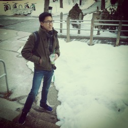 Brian Nguyen preps for the cold winter weather by downing frozen drinks.