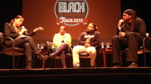 Soledad O'Brien, left, with panelists Joan Morgan, Luis Paulino and Etan Thomas.