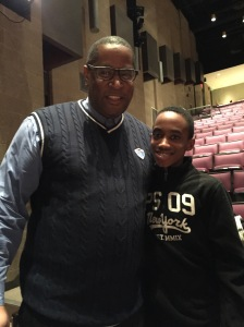 Kevin Minton with his 11-year-old son Joshua Minton at the Black in America tour