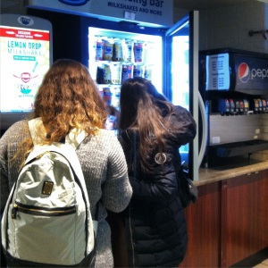 Although the weather outside is frightful, these two SBU students keep things chill with milkshakes. Photo by JD Allen (Feb. 11, 2015)