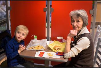 """Gloria Gallagher and her great-grandson, Daniel, Cheney, Wash."" Credit: Nolan Conway"