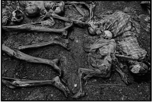 The massacre at Nyarabuye took place in the grounds of a Catholic Church and school. Hundreds of Tutsis, including many children, were slaughtered at close range, Rwanda, 1994.