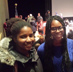 "Stony Brook University students Sarah Georges and Shanell Morrison attended Soledad O'Brien's ""Black in America"" tour at the Staller Center on Feb. 16, 2015."