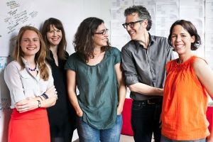 "From left, Dana Chivvis, Emily Condon, Sarah Koenig, Ira Glass and Julie Snyder are the team behind the ""Serial"" podcast."