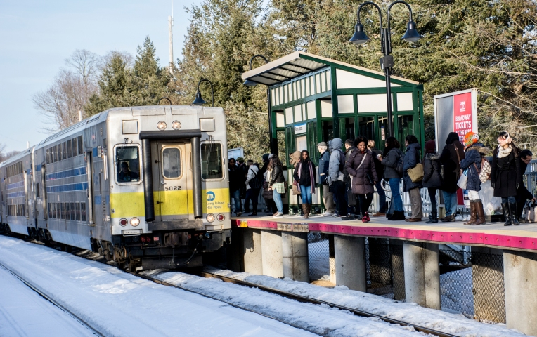 For these commuters, many of whom may be traveling as far west as Pennsylvania Station, this is one of 14 trains available. Many of them traveling westbound may stop at one of two major hubs -- Huntington Station and Jamaica Station -- on their way home. Photo by JD Allen (Feb. 25, 2015).