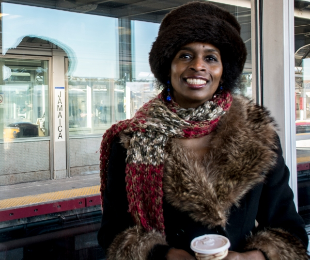 "Fay Parris -- who lives in Queens, but regularly takes both the Long Island Railroad and the New York City subway -- said she is unsure of how the MTA fare increase will impact her. ""I haven't given it that much thought. But when it happens, I would really have to take stock,"" Parris said. "" Since it is affecting both--I would just have to make some very wise decisions in terms of how and when I travel."" Photo by Melissa Cheri (Feb. 28, 2015)"