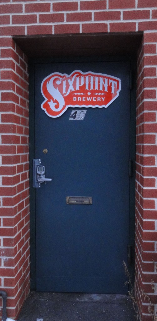 The unassuming entrance to the Sixpoint Brewery, nestled in Red Hook, Brooklyn