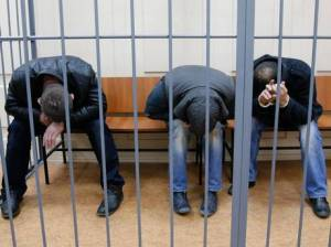 Three suspects, named by Reuters as Tamerlan Eskerkhanov, Shagid Gubashev and Ramzan Bakhayev, hide their faces