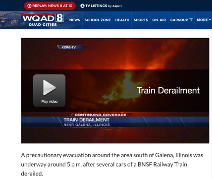 WQAD-TV updated its initial breaking coverage (posted Thursday) of the BNSF train derailment with a segment from its Friday morning TV broadcast, which included more detail, images and other resources, like a map.