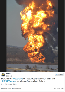 This photo sourced from Twitter of the Galena derailment/explosion is totally more terrifying than that of the Ontario derailment/explosion...so why not use it as a lead-in to this breaking news story on the Galena derailment/explosion?