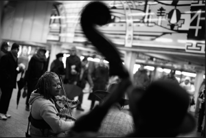 Henrique Prince, a self-taught violinist who leads the Ebony Hillbillies, a quartet that plays at the Times Square subway station.