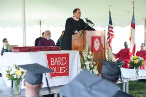 Courtesy of the Bard Prison Initiative: Max Kenner, the Executive Director of the BPI, giving a speech at a graduation ceremony for prisoners who received their college degrees.